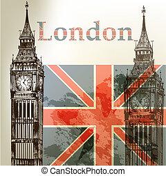 kunst, vektor, begrifflicher hintergrund, mit, london, big ben, und, englis