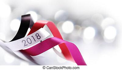 kunst, versiering, 2018, jaar, nieuw, kerstmis