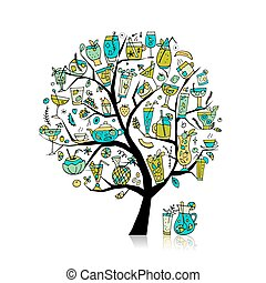 kunst, verzameling, boompje, ontwerp, jouw, dranken