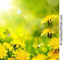 kunst, voorjaarsbloem, achtergrond;, fris, bloem, op, groen gras, achtergrond