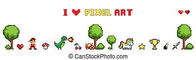 kunst, vrijstaand, verzameling, vector, witte , pixel