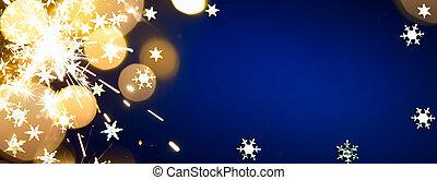 kunst, weihnachten, feiertage, licht, auf, blauer hintergrund