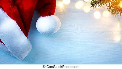 kunst, weihnachten, grüßen karte, background;, santa, hüte, und, weihnachtsbaum, licht