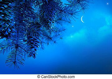 kunst, weihnachtsbaum, zweig, auf, a, blaues, nacht himmel, hintergrund