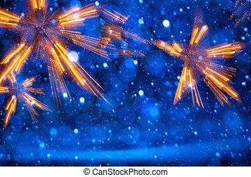 kunst, weihnachtsbeleuchtung, auf, blauer hintergrund