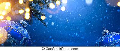 kunst, weihnachtsdeko, auf, blauer schnee, hintergrund