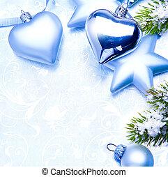 kunst, weinlese, weihnachtsdeko, auf, blauer hintergrund