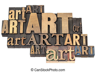kunst, woord, abstract, in, hout, type
