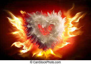 kunst, zacht, pluizig, hart, (valentine's, dag, groet, card)