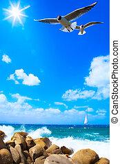 kunst, zee, achtergrond