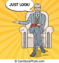 kunst, zittende , pointing., illustratie, vector, knallen, zakenman, senior, stoel