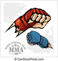 kunsten, embleem, -, punch, krijgshaftig, fist, gemengd,...
