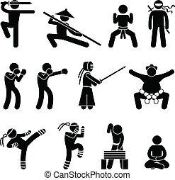 kunsten, fu, zelf, krijgshaftig, verdediging, kung
