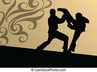 kunsten, gevecht, schoppen, kwon, vecht, tae, krijgshaftig, vechters, vector, illustratie, achtergrond, actief, silhouettes, sportende