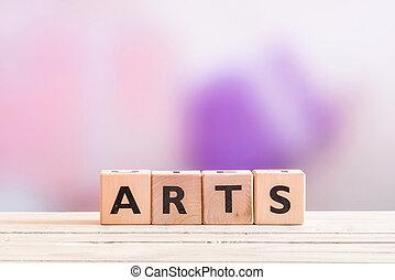 kunsten, meldingsbord, op, een, wooden table