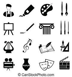 kunsten, pictogram, set