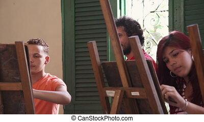 kunsten, professor, het kijken, fototoestel, universiteit, verticaal, het glimlachen