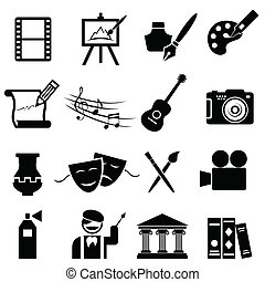 kunsten, set, boete, pictogram
