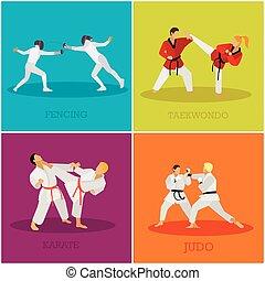kunsten, set, illustration., mensen, posities, silhouette., krijgshaftig, vechters, vector, sportende