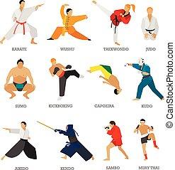 kunsten, set, silhouette, mensen, vrijstaand, krijgshaftig, vechters, vector, achtergrond., positions., witte , sportende