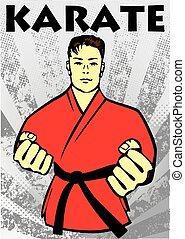 kunsten, vechter, poster, karate, krijgshaftig, kimono, rood