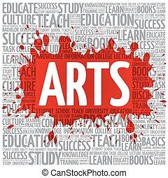 kunsten, woord, wolk, opleiding, concept