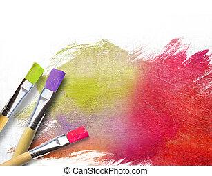 kunstenaar, borstels, met, een, helft, afgewerkt, geverfde, doek