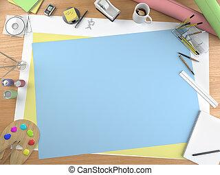 kunstenaar, desktop, met, de ruimte van het exemplaar