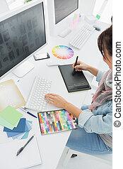 kunstenaar, iets, grafisch, werkje tabel