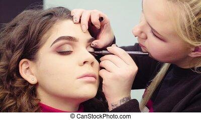 kunstenaar makeup, schilderij, black , eyeliner, op, de, eyes