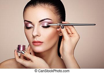 kunstenaar makeup, zich wenden tot, beschouw schaduw