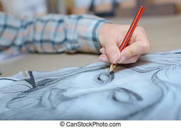 kunstenaar, schetsen, vrouwelijk gezicht