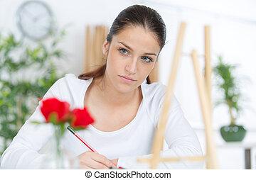 kunstenaar, schetsen, vrouwlijk, aantrekkelijk