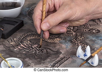 kunstenaar, schilderij, chinese draak