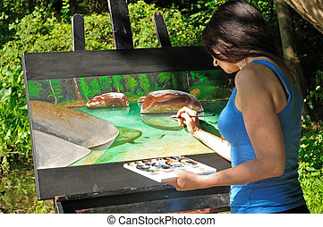 kunstenaar, schilderij, vrouwlijk, werkende , natuur