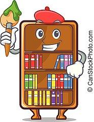kunstenaar, studeren, naast, boekenkast, bureau, mascotte