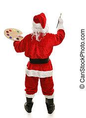 kunstenaar, volle, kerstman, achterk bezichtiging