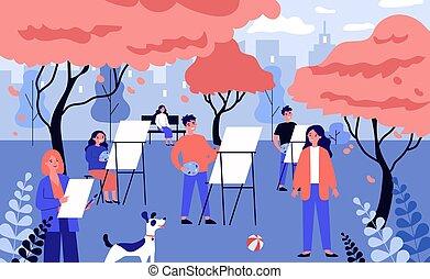 kunstenaars, jonge, vrolijke , natuur, open lucht, ...
