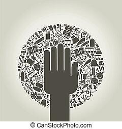 kunster, en, hånd