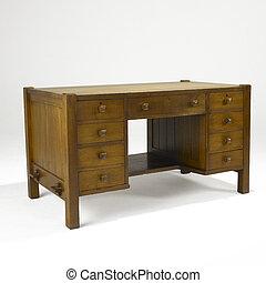 kunster håndværk, eg, skrivebord