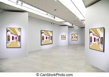 kunstgalerie, 3., alles, beelden op muur, zelfs, gefiltreerd, geheel, dit, foto
