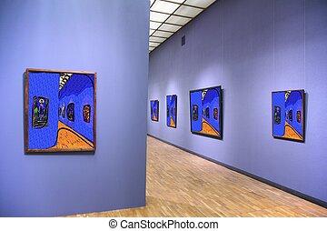 kunstgalerie, 4., alles, beelden op muur, zelfs, gefiltreerd, geheel, dit, foto