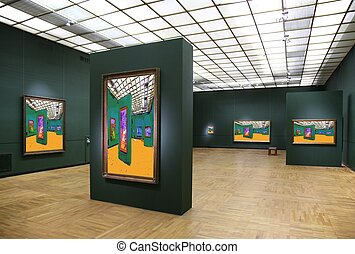 kunstgalerie, 6., alles, beelden op muur, zelfs, gefiltreerd, geheel, dit, foto