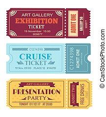 kunstgalerie, ausstellung, fahrschein, segeltörn, coupon, satz