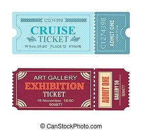 kunstgalerie, ausstellung, segeltörn, coupon, satz, von, vektor