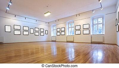 kunstgalerie, met, leeg, afbeeldingen