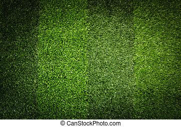 kunstige, grønne, grass., baggrund, i, soccer felt