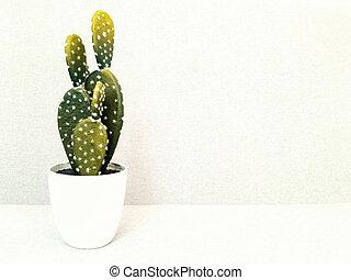 kunstige, kaktus, ind, hvid, keramik pot