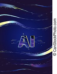 kunstmatig, intelligence., ai, letters., vector, illustration.