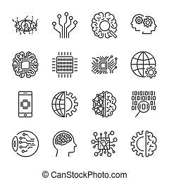 kunstmatig, intelligence., vector, pictogram, set, voor, kunstmatige intelligentie, ai, concept., gevarieerd, symbolen, voor, de, topic, gebruik, plat, design., editable, slag